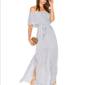 Alice & Olivia Off-The-Shoulder Striped Maxi Dress